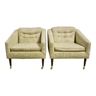 Mid Century Club Chairs, Pair For Sale