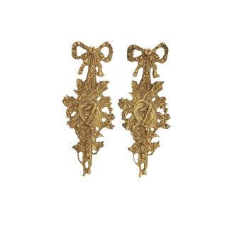 Pair Antique French Ormolu Mounts French Bronze Gilt Furniture/Mirror/ Door Pediments Decor For Sale
