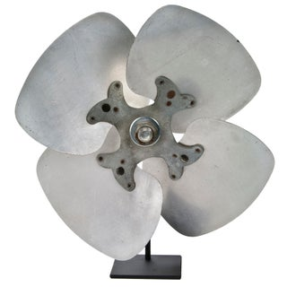 Vintage Aluminum Fan Blade On Stand