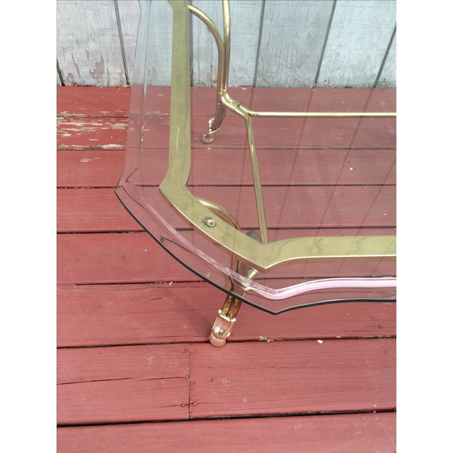 Hollywood Regency Brass Hoof Feet Coffee Table For Sale - Image 4 of 9