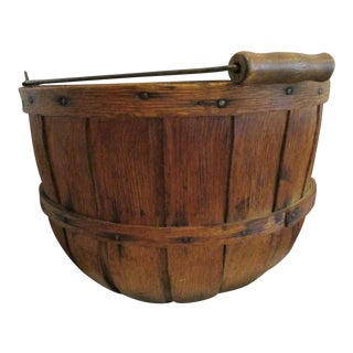 19th Century Primitive Oak Apple Produce Gathering Basket For Sale