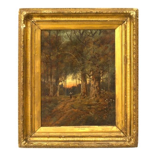 English Victorian Landscape of Lady in Forest For Sale