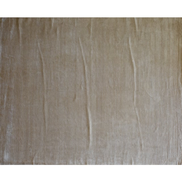 """Contemporary Tone on Tone Striped Rug White (10'x13'6"""") For Sale In Los Angeles - Image 6 of 7"""