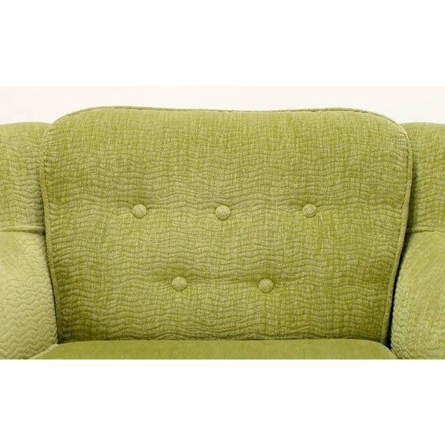 Pair of Pistachio Green Chenille Button-Tufted Low Barrel Back Wing Chairs - Image 8 of 9