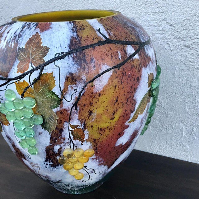 Large Art Glass Vase With Applied Grapes, After Daum Nancy For Sale - Image 11 of 13