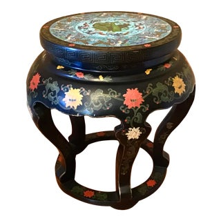 Chinese Cloisonné and Black Lacquered Stool For Sale