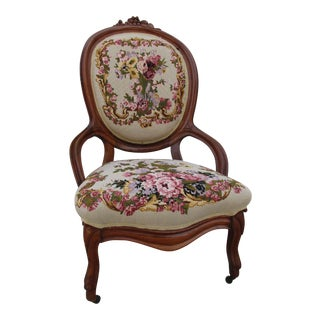 Antique Victorian Needlepoint Chair For Sale