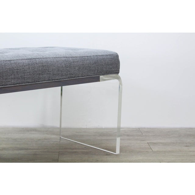 White Elegant Custom Waterfall Acrylic & Linen Bench, Acrylic Bench, Gray Linen Bench For Sale - Image 8 of 10
