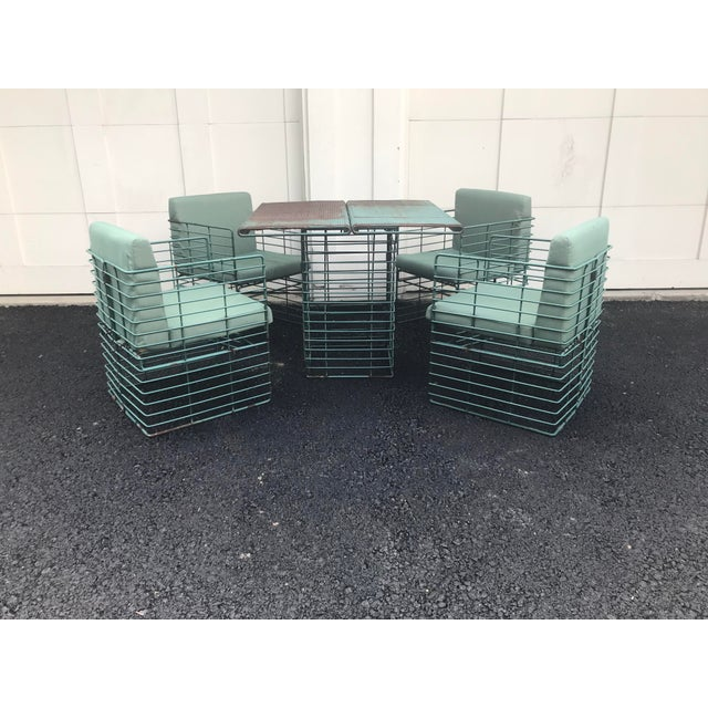 Mid-Century Modern Rare Josef Hoffmann Style Curvilinear Perforated Outdoor Dining Set - 5 Pieces For Sale - Image 3 of 12