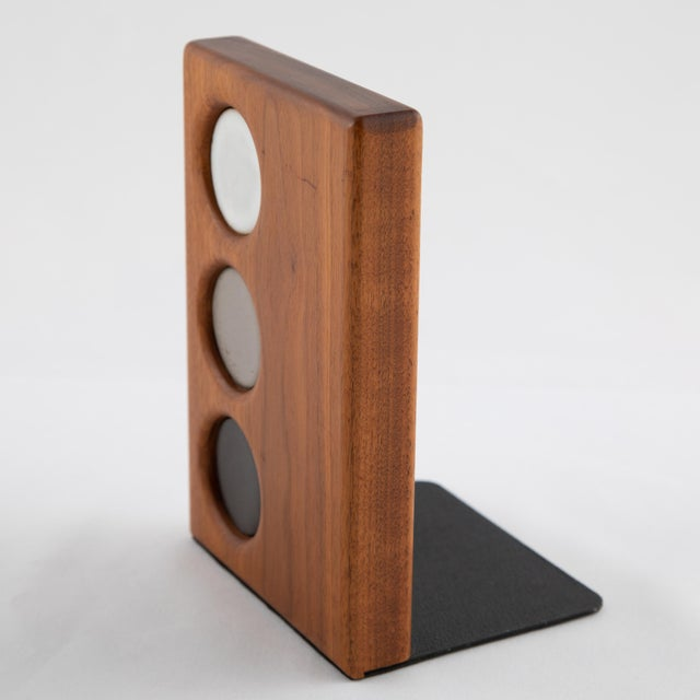 1960s Ceramic and Walnut Bookends by Gordon and Jane Martz for Marshall Studios - a Pair For Sale - Image 9 of 12