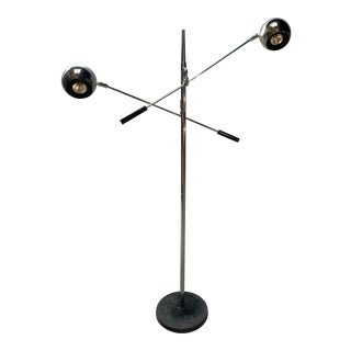 "Vintage Space Age ""Orbiter"" Two Arm Chrome Floor Lamp by Robert Sonneman For Sale"