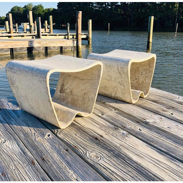 Abstract 1960s Mid Century Guhl Wasler Cement Garden Stools - a Pair For Sale - Image 3 of 10