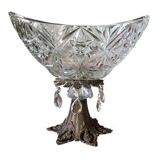 Cut Glass Oval Centerpiece Bowl For Sale