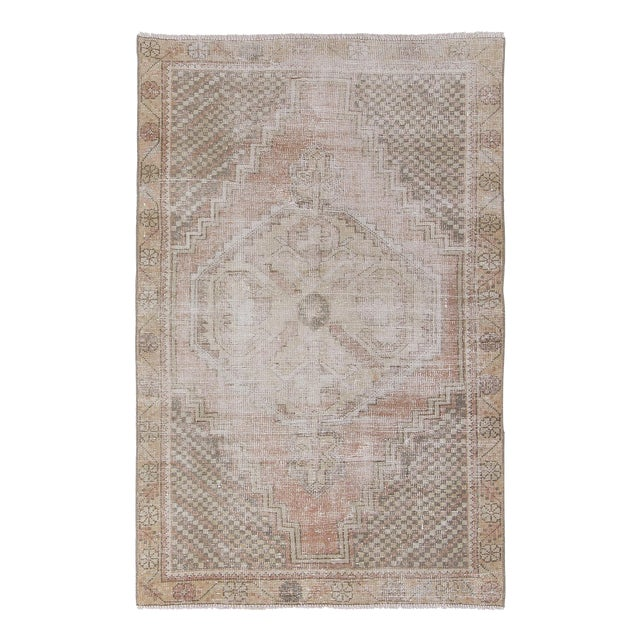 1960s Vintage Distressed Small Area Rug - 3′5″ × 5′4″ For Sale