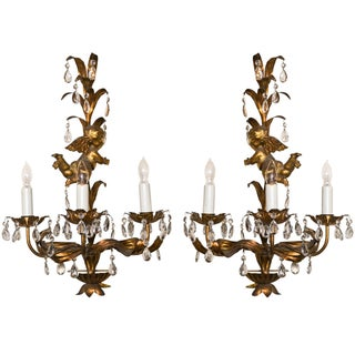 French Gilt-Brass 3-Light Wall Sconces - A Pair For Sale