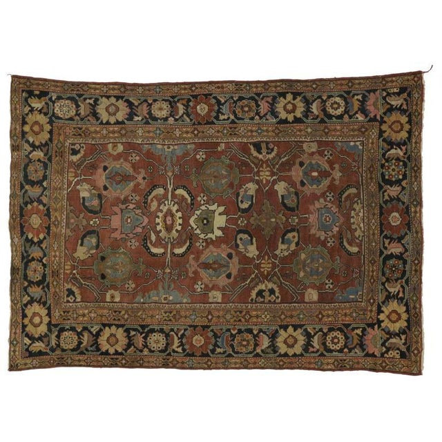 Textile Antique Persian Sultanabad Rug with Traditional Modern Style For Sale - Image 7 of 8