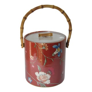 Vintage Chinoiserie Ice Bucket With Bamboo Handle For Sale