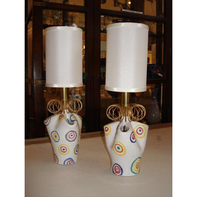 Pair of Playful Painted Ceramic Boudoir Lamps - Image 2 of 5