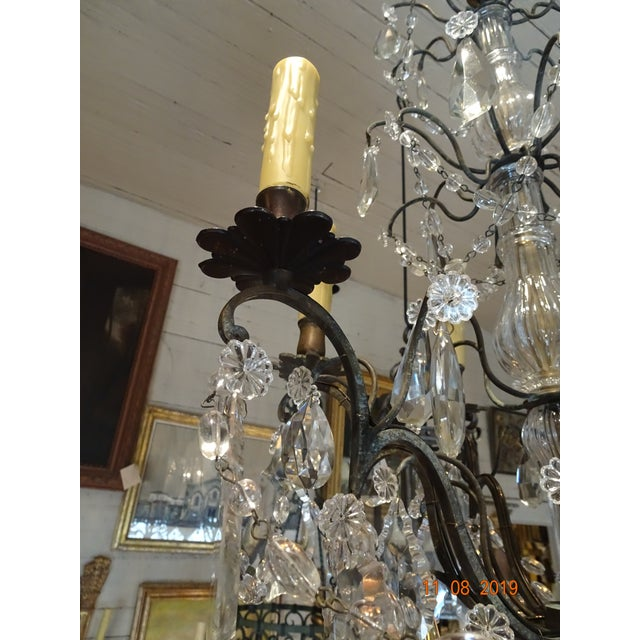 French Small Vintage French Crystal Chandelier For Sale - Image 3 of 13