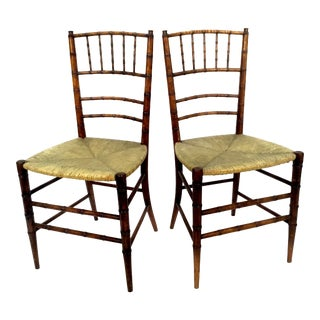 19th Century Faux- Bamboo Side Chairs With Rush Seats - a Pair For Sale