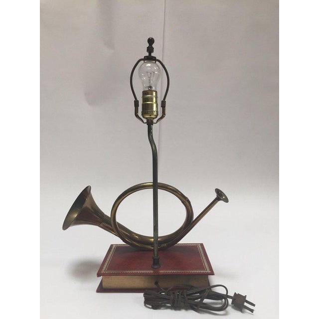 Mid 20th Century Vintage Brass Looped Hunter's Horn Bugle Made Into a Table Lamp by Robert Abbey For Sale - Image 5 of 13