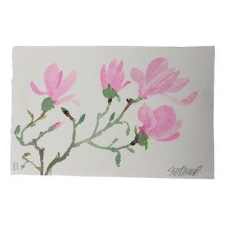 """Pink Magnolia 2"" Original Watercolor Painting For Sale"