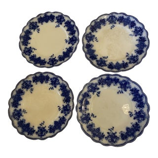 Antique Flow Blue Plates by Wh Grindley & Co - Set of 4 For Sale