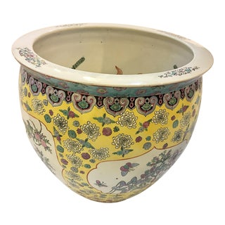 Large 1960s Asian Jardiniere Fish Bowl For Sale