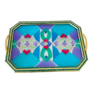 Vintage Stained Glass Malachite Trim Octogonal Tray