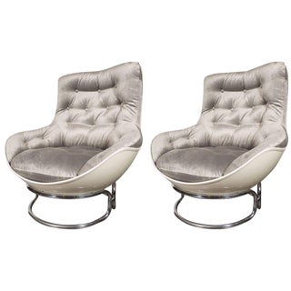 French Mid-Century Modern Airborne Chrome and Fiberglass Lounge Chairs - a Pair For Sale