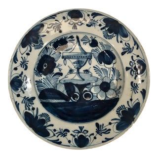18th Century Delft Plate With Urn Center For Sale