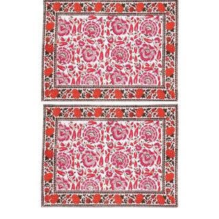 Riyad Placemats Pink & Orange - A Pair For Sale