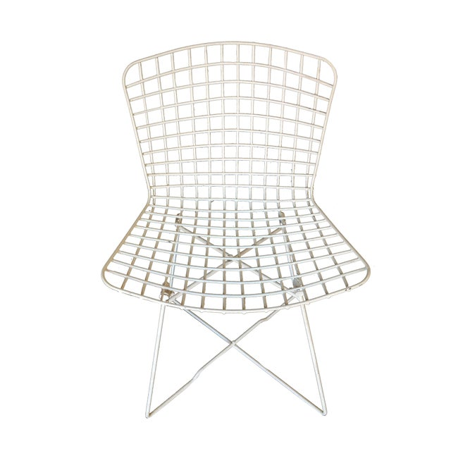 "Contemporary White Bertoia Steel Wire ""X"" Base Side Chairs by Knoll - Set of 6 For Sale - Image 3 of 10"