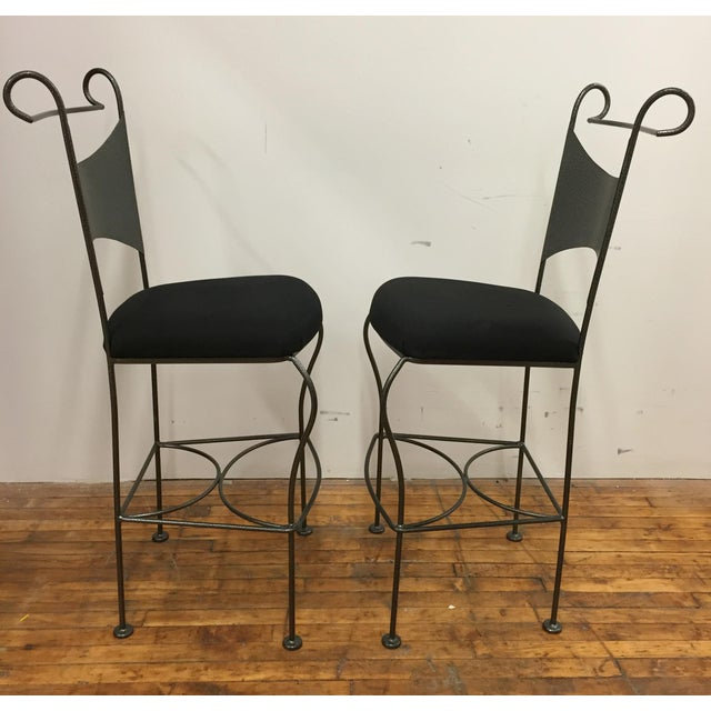 Mid-Century Modern Vintage Mid Century Arthur Umanoff Wrought Iron Bar Stools- A Pair For Sale - Image 3 of 8