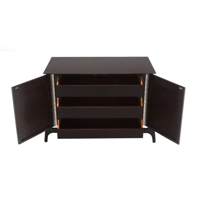 Lacquer Two-Door Sculptural Exposed Leg Ebonized Server Three-Drawer Bachelor Chest For Sale - Image 7 of 8