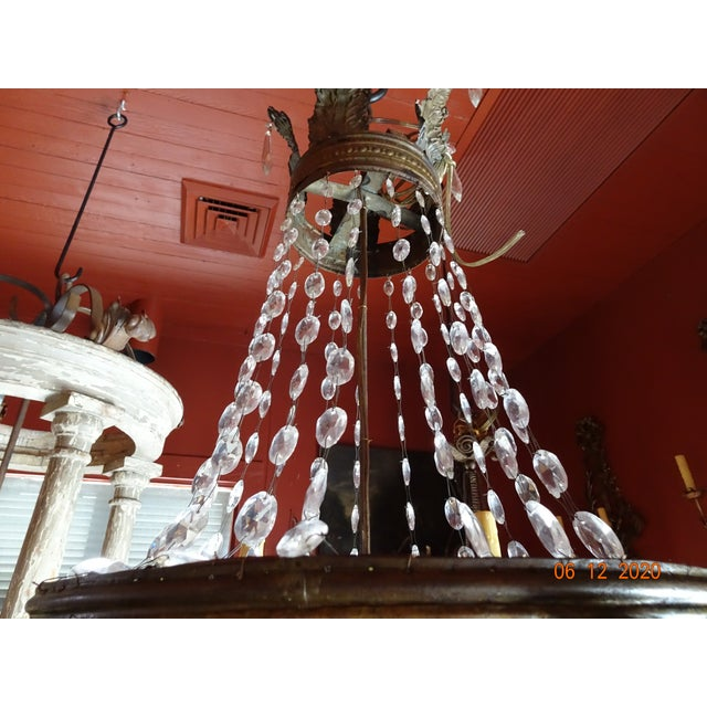 Transparent 19th Century French Tole and Crystal Chandelier For Sale - Image 8 of 13