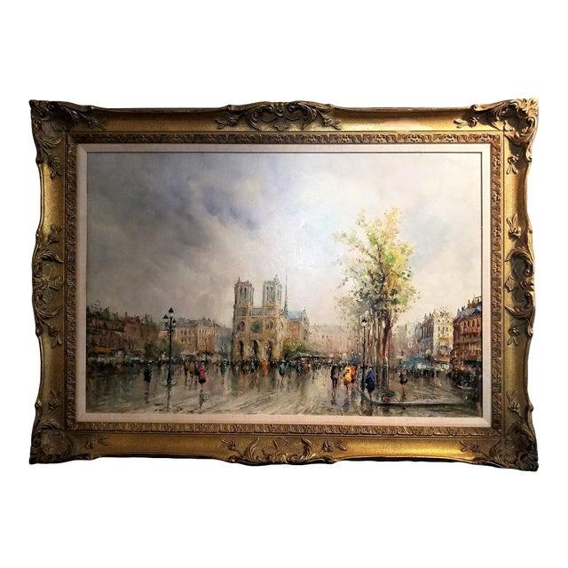 Paris Notre Dame Oil Painting on Canvas by Demone For Sale