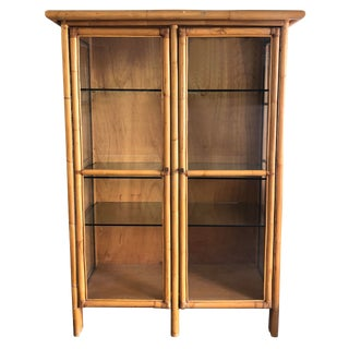 1970s Mid-Century Modern Rattan and Glass Cabinet For Sale