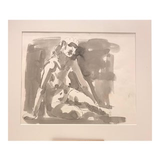 1950s Mid-Century Modern Drawing of Nude Female Figure by Auguste Jean Gaudin