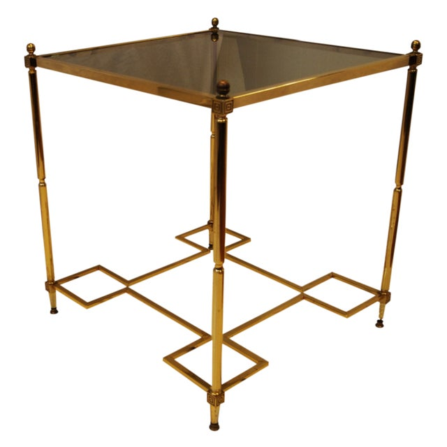 Hollywood Regency Brass Glass Top End Side Table - Image 1 of 6