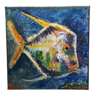 """One Fish"" Original Oil Painting 10""x10"" on Canvas For Sale"