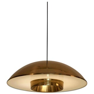Danish Brass Pendant Lamp With Perspex Shade For Sale