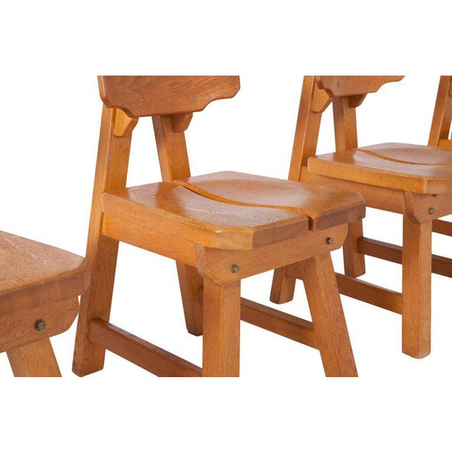Wood Brutalist Oak Spanish Dining Chairs For Sale - Image 7 of 13