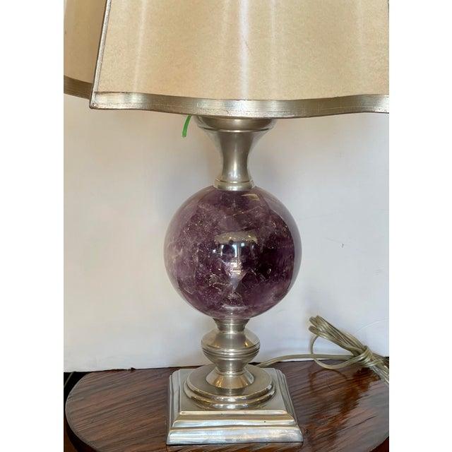 Modern Modern Amethyst Orb Table Lamp W Custom Shade For Sale - Image 3 of 5
