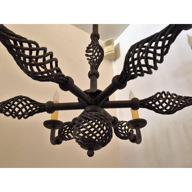 French Moderne 1940s Iron Chandelier For Sale In Los Angeles - Image 6 of 11