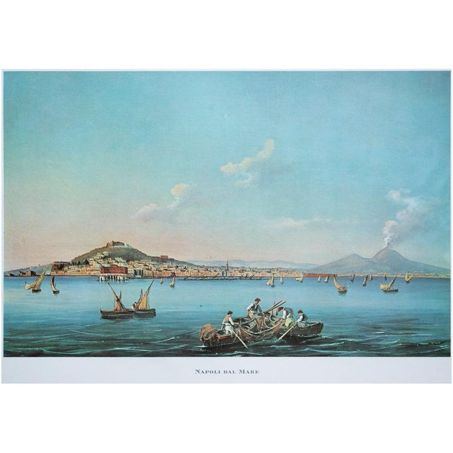 "Italian 1964 ""Naples From the Sea"", Original Lithograph For Sale - Image 3 of 8"