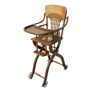Antique Oak Convertible Pressed Back High Chair Stroller For Sale