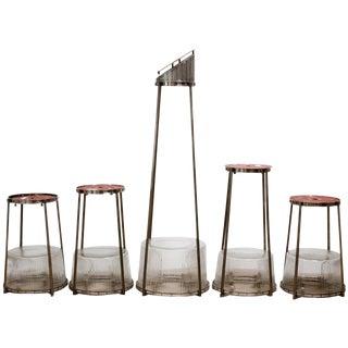 Modernist Art Deco Nickel Chandeliers - Set of 5 For Sale