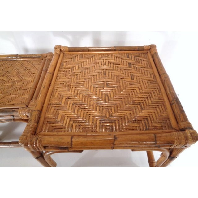 Brown Mid Century Organic Modern Bamboo Side Nesting Tables For Sale - Image 8 of 11