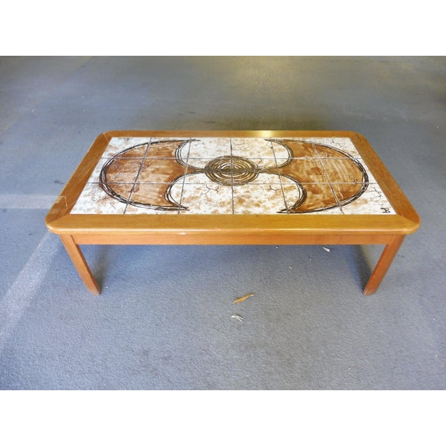 70's Abstract Painted Tile Top Danish Modern Coffee Table Signed For Sale - Image 11 of 11
